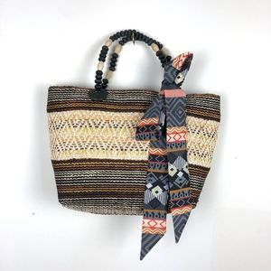 Woven Patterned Striped Beaded Handle Tote Bag